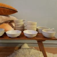Studio Pottery Bowl Set With Oatmeal Finish